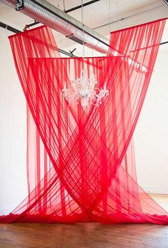Navy Blue & Red Wedding at 701 Whaley Red Drapery Ceremony Backdrop