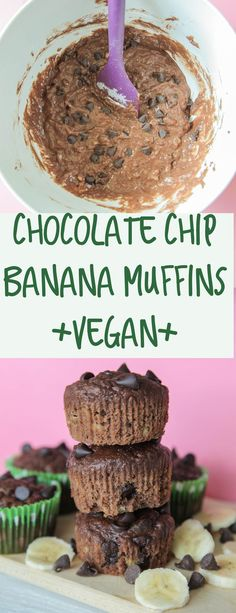 Chocolate Chip Banana Muffins (Vegan) - Chocolate meets banana in these moist, fluffy, extra chocolatey muffins. All you need is one bowl + 10 ingredients to have the perfect chocolate chip banana muffins. #vegan #chocolatemuffins #muffins #veganbreakfast #dairyfree #vegetarian