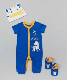 Loving this Buster Brown Blue & Orange 'Z Is for Zebra' Beanie Set - Infant on #zulily! #zulilyfinds