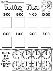 First Grade Math Unit 15 Telling Time Telling Time first grade worksheets and activities that are hands on and fun Clock Worksheets, First Grade Worksheets, School Worksheets, 1st Grade Math, First Grade Curriculum, Matching Worksheets, Money Worksheets, Grade 1, Telling Time Activities