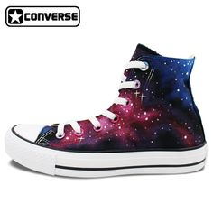 New High Top Original Converse All Star Space Red Bule Galaxy Shoes Custom  Design Hand Painted Shoes Man Woman Sneakers f61818b26