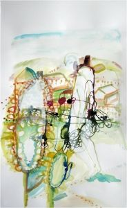 "Elizabeth Terhune""tallkwallk""  2010 ink on paper 22"" (h) 13-3/4"" (w)"