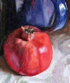 Pomegranate, Bottle and Blue Jug, 13 x 15 cm, oil on card. by Julian Merrow-Smith, a British painter living in Provence in the South of France. Pomegranate Art, Apple Art, Fruit Painting, Daily Painters, Expressive Art, Jewish Art, Still Life Art, Traditional Paintings, Colorful Drawings