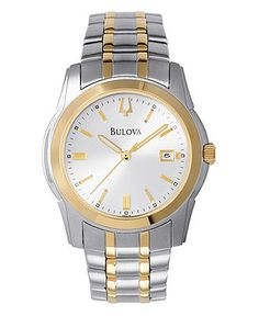 Complement his classic taste with this extraordinary, two-tone stainless steel bracelet watch. Features a crisp white dial with gold-tone bezel and markers. Three-hand movement and date display. Water