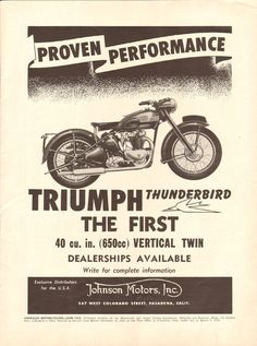1950 Triumph Thunderbird 11'' x 14'' Matted Vintage Motorcycle Print Ad Art