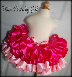 SEWN Fuchsia Tutu Trimmed in Fuchsia and Light Pink. Tutu Cute By Jill on Etsy