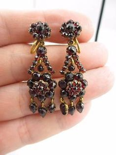 Antique Victorian Bohemian Garnet Dangle Screw Back Earrings