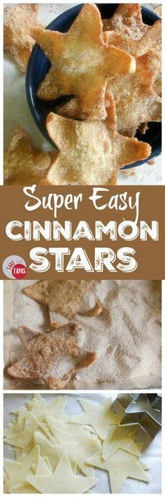 These super easy Cinnamon Stars are made from won ton wrappers and tossed in a cinnamon sugar mixture to add a touch of sweetness! Super Easy Cinnamon Stars Recipe   Take Two Tapas