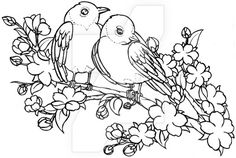 Lovebirds on Cherry Blossom Branch Tattoo by Metacharis on DeviantArt, would be cool as embroidery