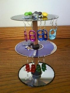 Cd's Earrings Portal · How To Make An Earring Hanger · Construction on Cut Out + Keep Earring Hanger, Earring Display, Stained Glass Birds, Stained Glass Panels, Jewellery Storage, Jewellery Display, Jewellery Holder, Cd Recycling, Craft Tutorials