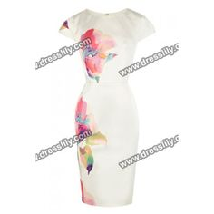 Scoop Collar Floral Print Short Sleeves Slimming Ladylike Women's Dress, AS THE PICTURE, L in Print Dresses | DressLily.com