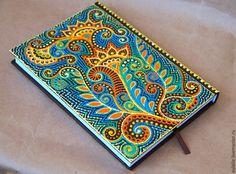 """Купить Ежедневник """"Радужный"""" - авторская роспись, уникальный подарок, оригинальный подарок, ежедневник, точечная роспись"""