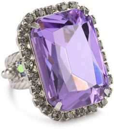 """Sorrelli """"Chantilly Lace"""" Octagonal Crystal Cocktail Silver-Tone Adjustable Ring: Jewelry"""