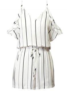 Women's Color Block Striped Print Lace up Waist Romper AZBRO.com