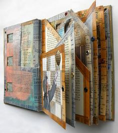 Altered Book | www.cutetape.com > Altered book, a work in progress again from hogret on devianART. I can recognize that washi tape pattern anywhere