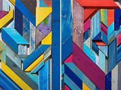 Refresh - Renew: Inspiration Anthro-style.  scrap wood pieces painted and mounted as design.