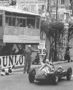 Juan Manuel Fangio, Alfa Romeo (finished Monaco Grand Prix was a Formula One motor race held on 21 May -- checkered flag Alfa Romeo, Formula 1, Gp Moto, Monaco Grand Prix, Vintage Race Car, Automobile, F1 Racing, Sports Art, Maserati
