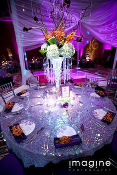 wedding centerpieces orange silver and purple