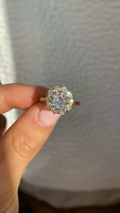 Vintage Inspired Halo Diamond Engagement Ring Diamond Cluster Ring, Halo Diamond Engagement Ring, Vintage Inspired Engagement Rings, European Cut Diamonds, Vintage Diamond, Ring Designs, Diamond Cuts, Jewelry Making, Formal