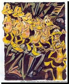 """""""Nude Duck Descending A Staircase"""" by Chuck Jones. Based off Duchamp's """"Nude Descending a Staircase"""" and featuring Daffy Duck."""