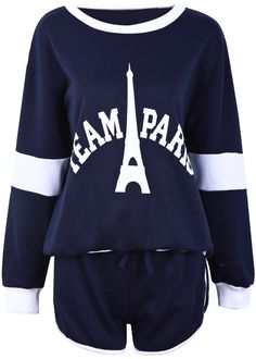 Top Eiffel Tower Letras manga larga con Shorts-Azul EUR€24.85