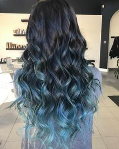 Pastel Blue Balayage Highlights For Black Hair