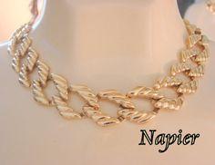 80s Classic Napier Choker Necklace /  Designer Signed by JoysShop