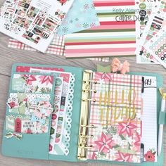 Robin's Egg Carpe Diem planner set up featuring the Oh What Fun Simple Set and Bloom Carpe Diem planner products by design team member Kelly Alexandra