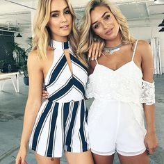 Pretty party Playsuits for you and your party partner. Lace detailing and nautical stripes are the hot topic of tonight's new arrivals! #tagyourbestfriend  what would you wear? What would she wear?