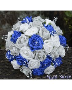 Royal Silver - Rose Bridal Bouquet of Blue and Silver Grey Artificial Roses, Brides, Bridesmaid or Flower Girl Size