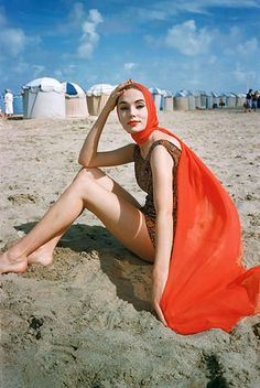 Orange Scarf on Beach | From a unique collection of color photography at https://www.1stdibs.com/art/photography/color-photography/