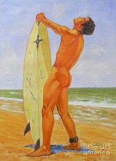 Hongtao     Huang - original oil painting gay mam body male nude -008