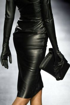 Black leather dress and gloves runway fashion