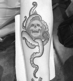 skull and octopus tattoo, blackwork by Francesco Rossetti
