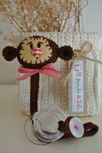 ༺༺༺♥Elles♥Heart♥Loves♥༺༺༺ ........♥Crochet Amigurumi♥........ #Amigurumi #Patterns #Crochet #Softies #Childrens #Toys #Handmade #Teddy #Doll #Tutorial #Patterns #Collectable~ ♥Beautiful Crochet Work By El Gancho De Lola Pacifier Monkey