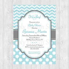 DIGITAL Light Blue and Gray CHEVRON Polka Dots - Printable Baby Shower Bridal Shower or Birthday Invitation Invite Boy DIY You Print. $10.00, via Etsy.