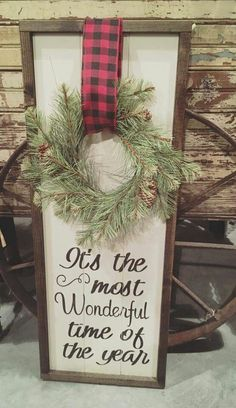 Getting inspired and in the spirit is half the fun of the season, after all! So, we've rounded up some rustic Christmas decor that you could easily incorporate into your pre-existing holiday scheme this year. Christmas Projects, Holiday Crafts, Christmas Wreaths, Christmas Ideas, Christmas Signs Wood, Buffalo Check Christmas Decor, Merry Christmas Sign, Christmas Lights, Farmhouse Christmas Decor