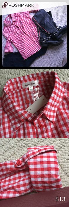 NWT red and white shirt Red and white checkered cotton button up the front shirt. Has red buttons and roll up tabs on the sleeves as well as front pockets. New with tags, smoke and pet free home. Tops Button Down Shirts