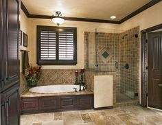 I love this layout, with the dark wood and beige walls, except with stack stone in place of the tile for that country feel!