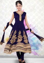 Navy Blue Net Readymade Anarkali Churidar Kameez. Utsav Fashion.com - USD $107.00