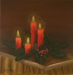 Malkurs Online: Stillleben Weihnachtsgesteck mit Kerzen.  Acrylmalerei kostenlos lernen. In leicht verständlichen  Schritt-für-Schritt-Anleitungen lernen wie es geht.