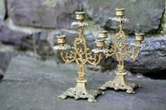 Pair Ornate Brass Art Nouveau Candleabra. by NorthMajestyTrail
