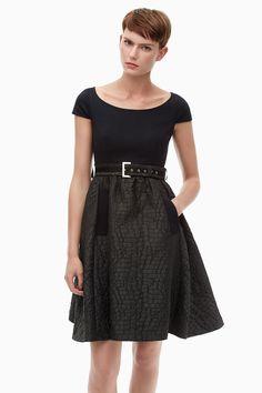 Boat Neck Dress With Full Brocade Skirt - Belle du Jour | Adolfo Dominguez shop online