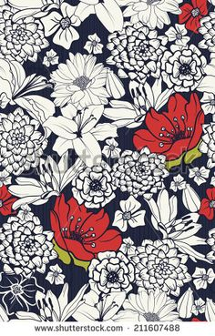 Stock Images similar to ID 220579549 - beautiful seamless background... Hand Drawn Flowers, Flower Patterns, Color Patterns, Pattern Flower, Red Flowers, Designer Wallpaper, Bright Colors, Flower Power, How To Draw Hands