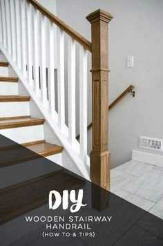 How to install a wooden handrail on split level stairs - Lemon Thistle - New Ideas Porch Handrails, Stair Handrail, Railings, Wood Railing, Bannister, Hardwood Stairs, Wooden Stairs, Entry Stairs, House Stairs