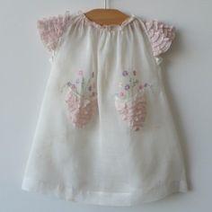 Detail - Heirloom Baby Dress c.1935, Flower Pocket Embroidery