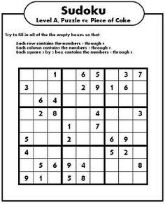 There are 4 sudoku puzzles per page. The printable sudoku puzzles pages below are listed in order of difficulty. If you are new to sudoku, start with an easy puzzle. Free Printable Crossword Puzzles, Sudoku Puzzles, Logic Puzzles, Puzzles For Kids, Free Printables, Number Puzzles, Printable Cards, Brain Puzzle Games, Brain Games
