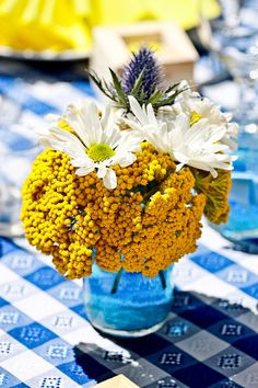 Happy Sunflowers, Blue Hydrangeas & Lots of Wildflowers Decorate This Fun DIY Country Garden Party Wedding