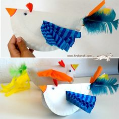 paper plate birds w/- feathers - french craft Kids Crafts, Craft Activities For Kids, Toddler Crafts, Arts And Crafts, Craft Ideas, Paper Plate Art, Paper Plate Crafts, Paper Plates, Kindergarten Art