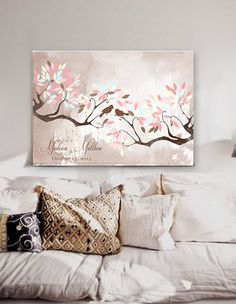 Wedding Guest book  tree on canvas 200 sign with birds in love pink light blue colour leaves on watercolor background Choose your colours
